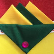 Yellow and Green Hankie With Green Flap and Pin
